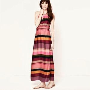 🆕 LOFT Pink Stripe Drop Waist Halter Maxi Dress